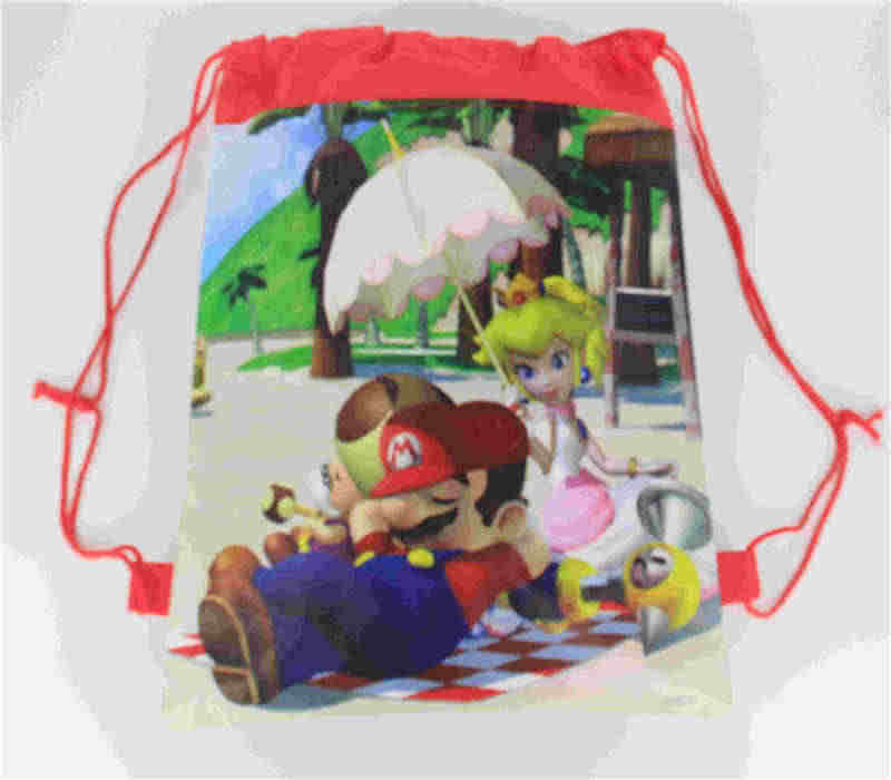 20Pcs Super Mario Thema Niet-geweven Koord Rugzak Voor Kids Birthday Party Favor Gift Bag 34*27Cm