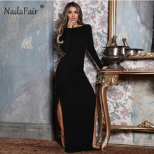 5b379b42e59 Nadafair backless women sexy long party dress vestidos spring long sleeve  high side split bodycon maxi