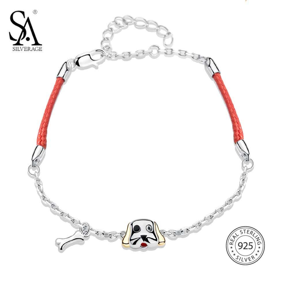 SA SILVERAGE 925 Sterling Silver Bracelets Dog Bone Charms