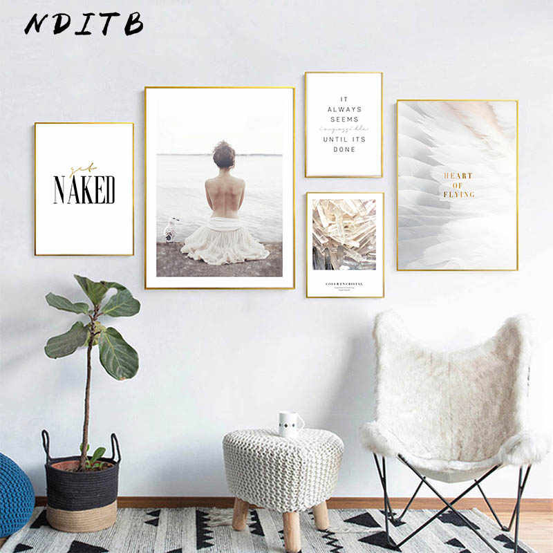 NDITB Scandinavian Style Girl Feather Realist Canvas Abstract Painting Wall Art Nordic Posters and Prints Decoration Pictures