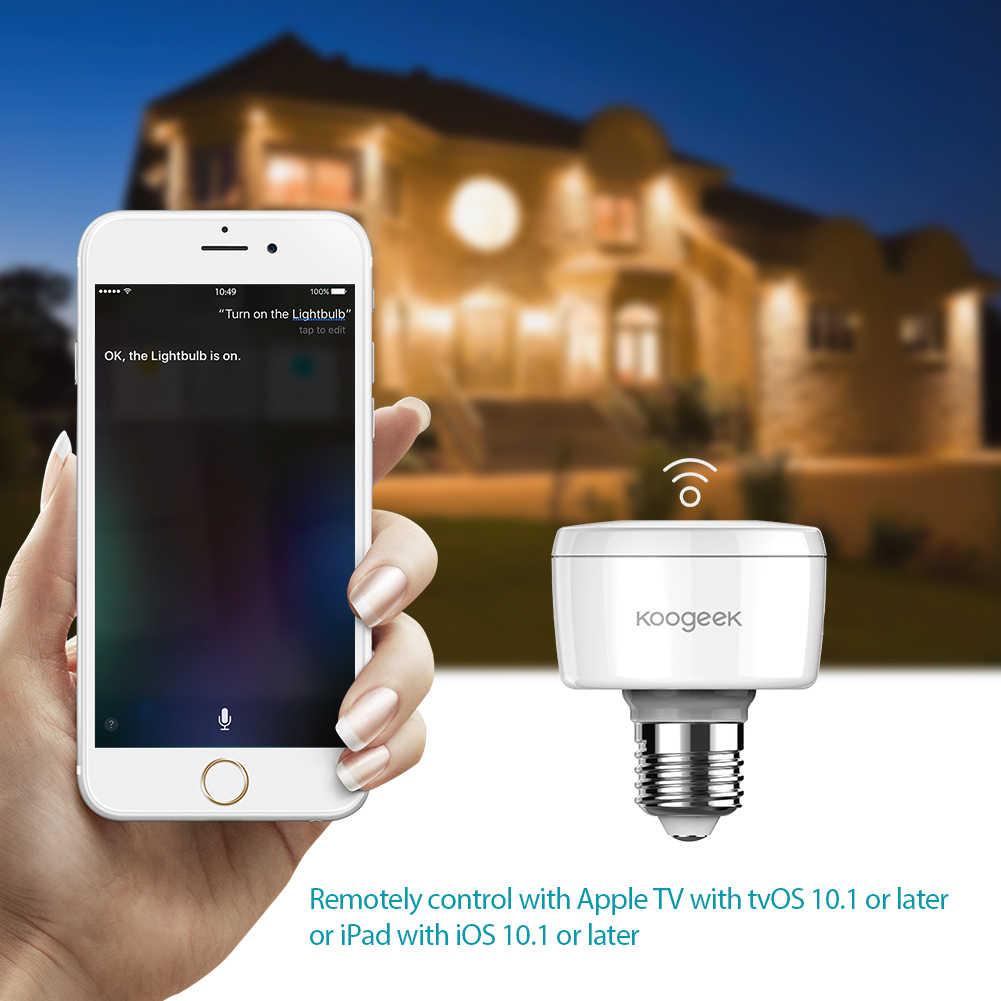 Koogeek Thuis WiFi Smart Socket E26 E27 Gloeilamp Adapter Werkt met Apple HomeKit Ondersteuning Siri Voice Control Gloeilampen Monitor
