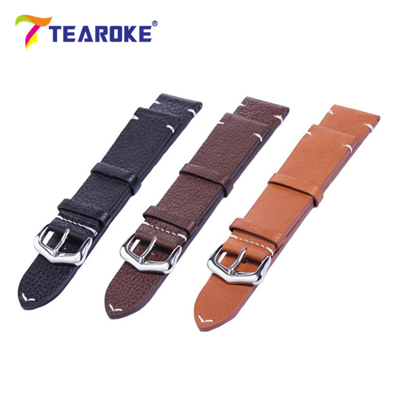 TEAROKE Solid Genuine Leather Men Watch Band 18mm 20mm 22mm Sliver Mental Buckle Clasp Band Strap Watch Accessories High Quality new arrival pu leather strap 20mm watch band buckle strap buckle clasp high quality watch strap multicolor fast shipping 012