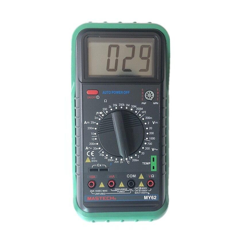 MASTECH MY62 Digital Multimeter Handheld DMM w/Temperature Capacitance & hFE Test Testers Meters Ammeter Multitester Megohmmeter