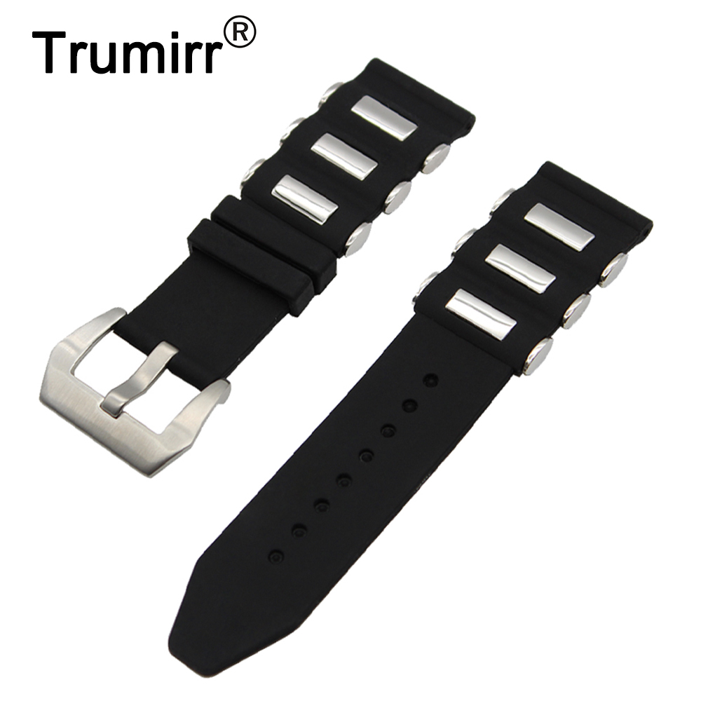 70153dbf796 22mm 24mm Silicone Rubber Watch Band for Panerai Luminor Radiomir Stainless  Steel Pre v Buckle Strap Wrist Belt Bracelet Black-in Watchbands from  Watches on ...