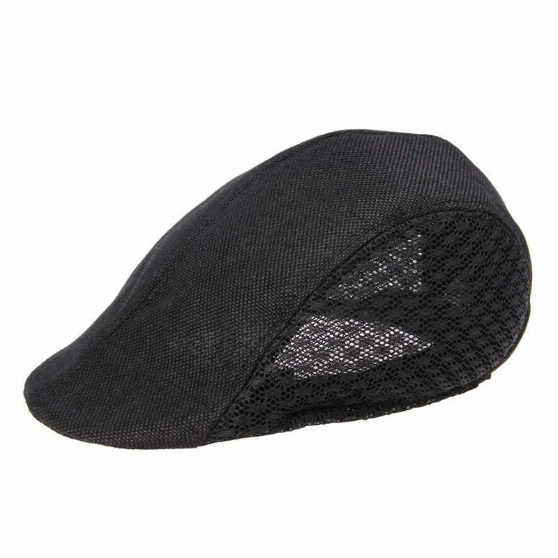 f9b9719094 INFINITLOVE Vintage Men Women Solid Gangster Gatsby Traveling Cap Driving  Sun Cabbie Newsboy Mesh Beret Hat (One Size:57cm)