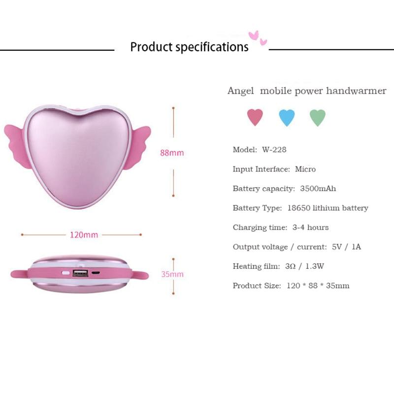 Mobile Power Handwarmer PTC ceramic heating Mini Electric Heater Explosion Warm Love Angel Usb Charging Warm Baby Fever