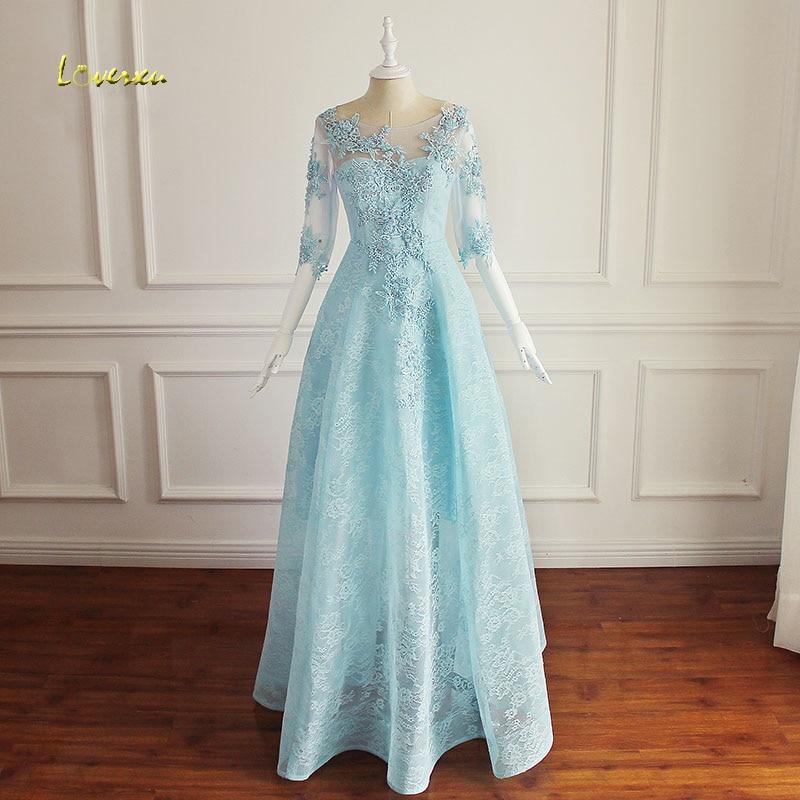 Loverxu Romantic Half Sleeve Long Lace   Evening     Dresses   2019 Appliques Beaded A Line Formal Party Gown Robe De Soiree Plus Size