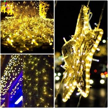 100/200/300 LEDS 8 Modos Tiras De Led De Cadena Solar Luces De Hadas Vacaciones Navidad Fiesta Guirnaldas Solares Jardín Luces Impermeables