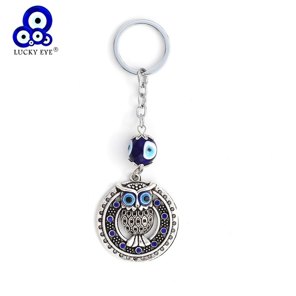 Lucky Eye Crystal Owl Charm Llavero Evil Eye Animal Bolso Llavero de Coche Para Hombres Mujeres Regalo de La Joyería EY148
