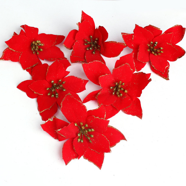 6pcs set christmas flowers christmas tree decorations pendant 13cm gold red artificial flower decoration