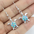 Lovely Blue Fire Opal Women Fashion Jewelry Earrings - Turtle Free Gift Box