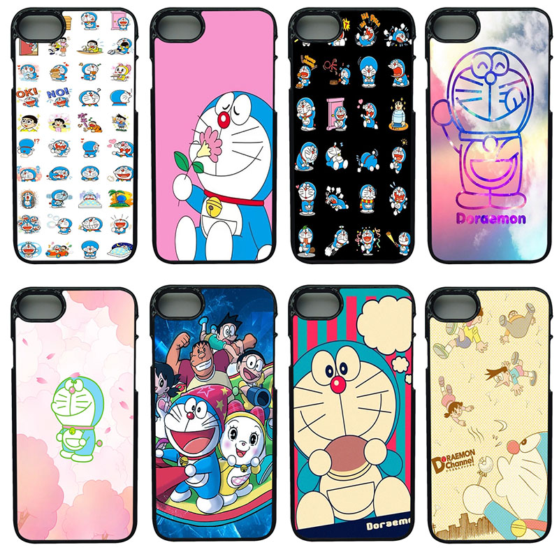 Cute Cartoon Doraemon Cell Phone Case Hard Plastic Anti-knock Black Shell Protect Phone Cover for iphone 8 7 6 6S PLUS X 5S 5 SE