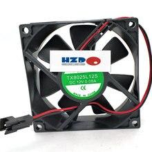 HZDO TX8025L12S 12 В 0.08A 8 см 80x80x25 мм тихий вентилятор охлаждения