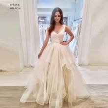 Дешевые Свадебные платья без рукавов с v образным вырезом 2020