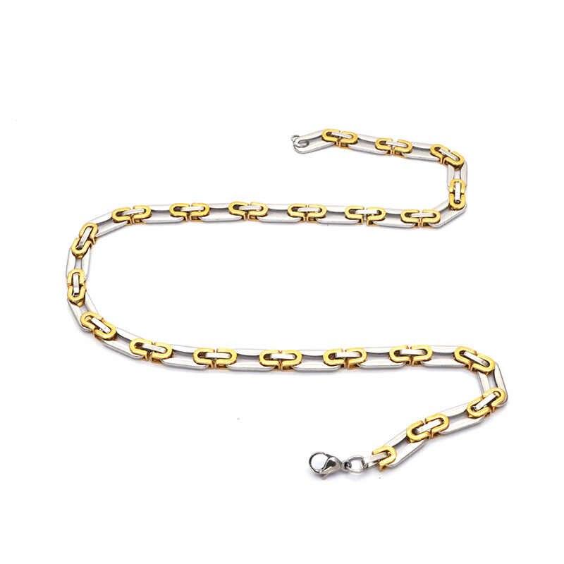 Hotsale naszyjnik dla mężczyzn płaskie bizantyjski Link srebrny złoty łańcuch ze stali nierdzewnej hurtownie biżuteria w stylu Vintage N051718