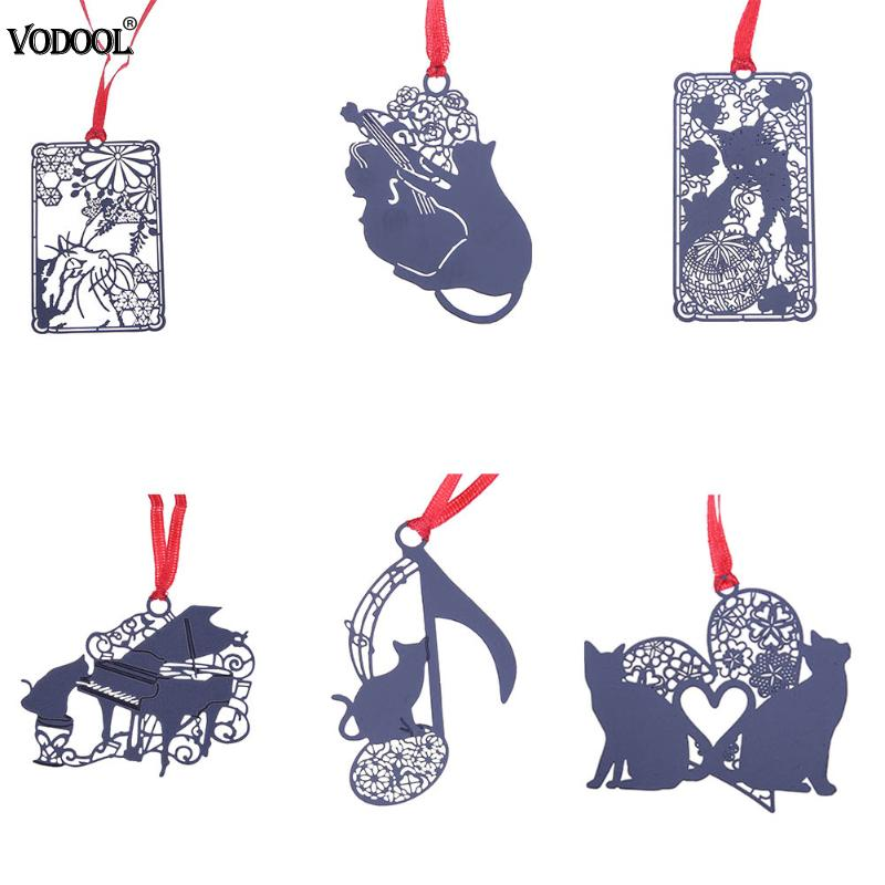 Милый черный каваи металла Полые закладки Черный кот книга Holde для студентов друзья Книга Держатель для книги papercutting умирает ...