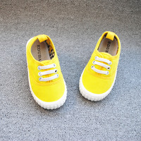 Girls Boy Shoes Solid Color Canvas Kids Shoes yellow Breathable E 01 Children Casual Toddler Students Outdoor Sports Footwear