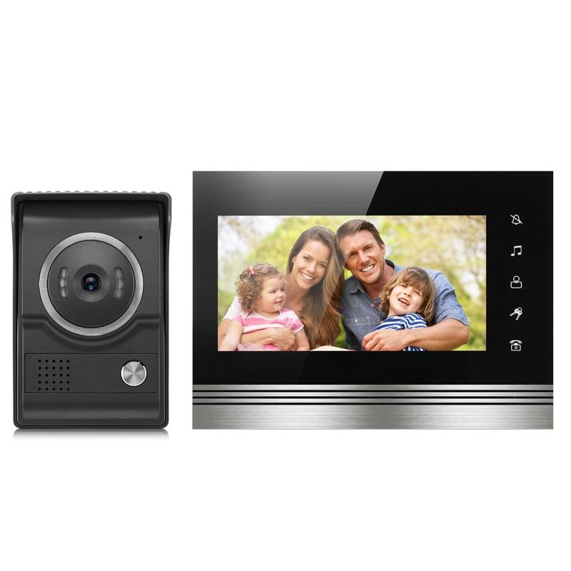 JCSMARTS 7 TFT LCD Wired Video Door Phone System Visual Intercom Doorbell 800x480 Indoor Monitor 700TVL Outdoor Infrared Camer