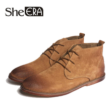 She ERA Split Leather Men Desert Boots Breathable High Top Shoes Outdoor Casual Winter Botas Homme