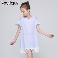 Lace Striped Shoulder Kids Ruffles Dress Tops Sleeveless Tank Girls Summer Dress New Arrival 2018 Cute