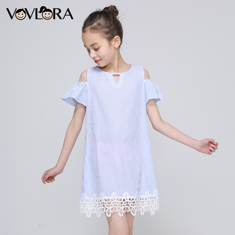Lace Striped Shoulder Kids Ruffles Dress Tops Sleeveless Tank Girls Summer Dress New Arrival 2018 Cute Size 7 8 9 10 11 12 Years ems dhl free shipping toddler little girl s 2017 princess ruffles layers sleeveless lace dress summer style suspender