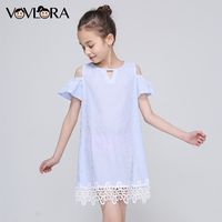 Lace Striped Shoulder Kids Ruffles Dress Tops Sleeveless Tank Girls Summer Dress New Arrival 2018 Cute