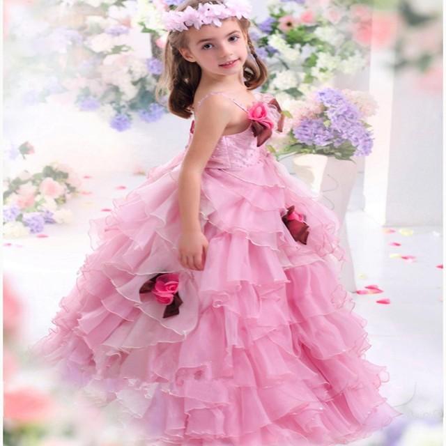Flower Rosa Blume Mädchen Festzug Kleider für Kleine Mädchen ...