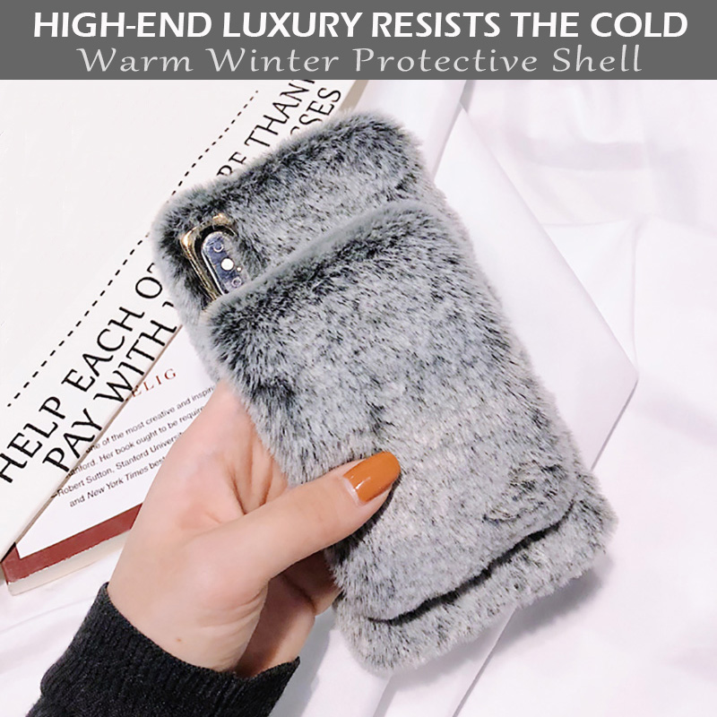 KIPX1036_2_For iPhone 7 8 Hairy Warm Phone Cover for iPhone XS XR 5S SE 6S 7P 8 Plus Plush Hand Warmer Soft Case