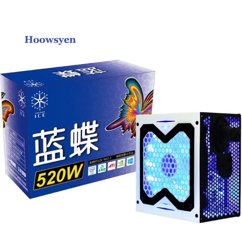 Добыча случае 500 Вт PC Питание Max 520 Вт ATX 12 В 120 мм тихий вентилятор высокого качества красочные led дыхание игровой