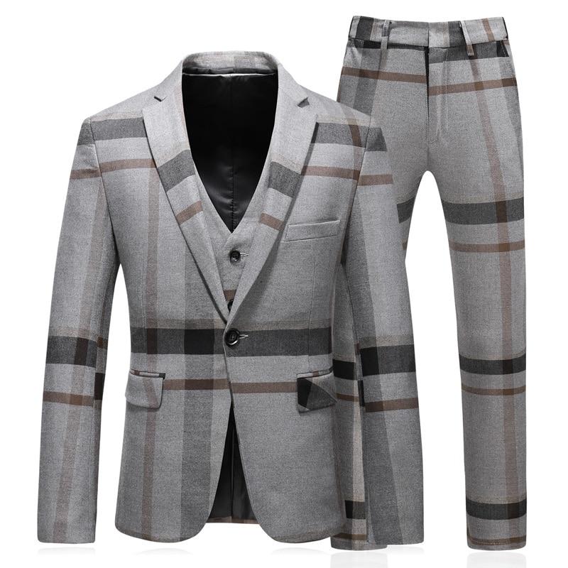 Erkek Kıyafeti'ten T. Elbise'de 3 adet terno masculino slim fit iyi kalite moda çizgili erkek takım elbise tasarımcıları 2018 artı boyutu 5xl'da  Grup 1