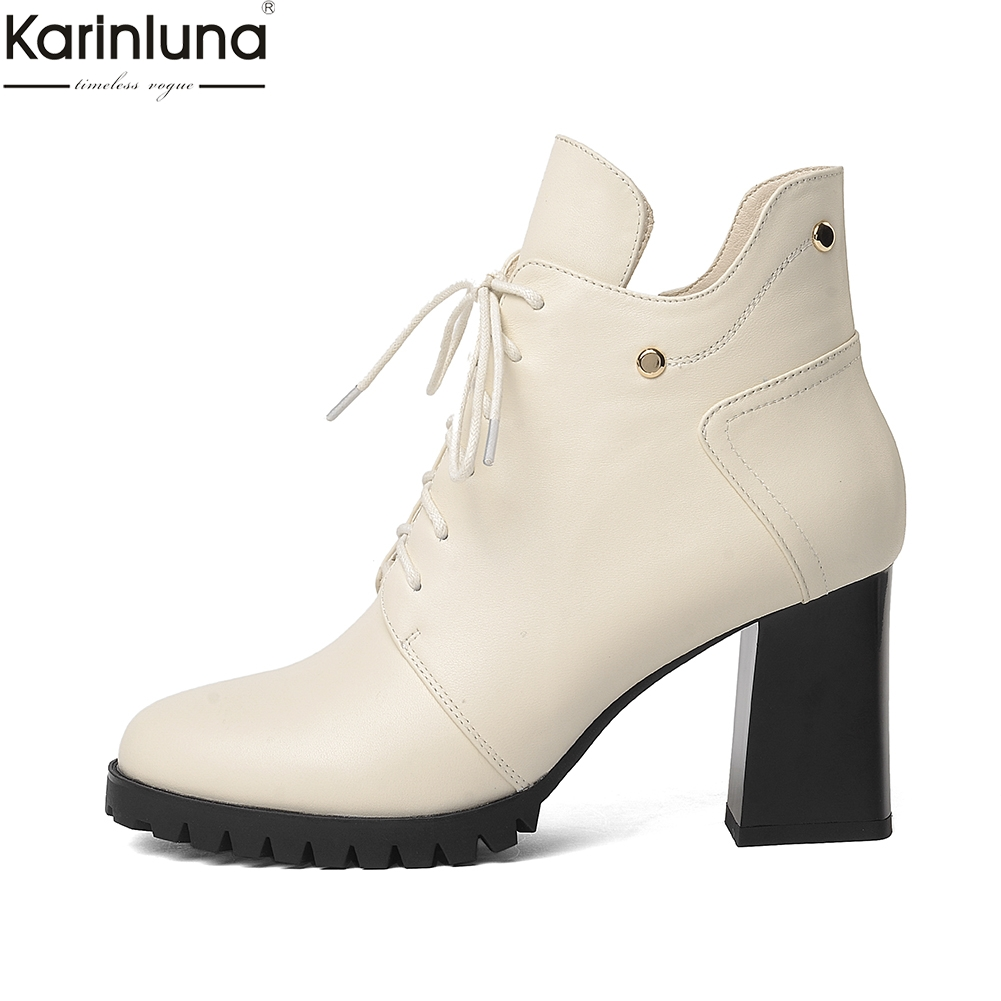 Karinluna Brand New Dropship High Heels Genuine cow Leather lady Boots Women Shoes elegant platform lace up Ankle BootsKarinluna Brand New Dropship High Heels Genuine cow Leather lady Boots Women Shoes elegant platform lace up Ankle Boots