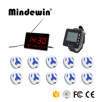 Mindewin 2017 New Design Restaurant Wireless Pager Calling System 10PCS Waiter Call Button + 1PCS Watch Pager + 1PCS LED