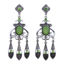 MYTHIC AGE Ethnic Vintage Antique Silver 6 Color Resin Bohemian Hollow Tassel Drop Dangle Earrings For Women Jewelry mythic age gold color ethnic chinese element cloisonne enamel leaves dangle earrings wholesale jewelry for women girls new