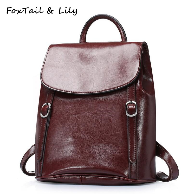 FoxTail & Lily Wax Cowhide Backpack Vintage Women Tote Double Shoulder Bags Genuine Leather Multifunctional Travel Backpacks british style leather backpack school bag oil wax cowhide black women travel backpacks rucksack ladies double shoulder bags