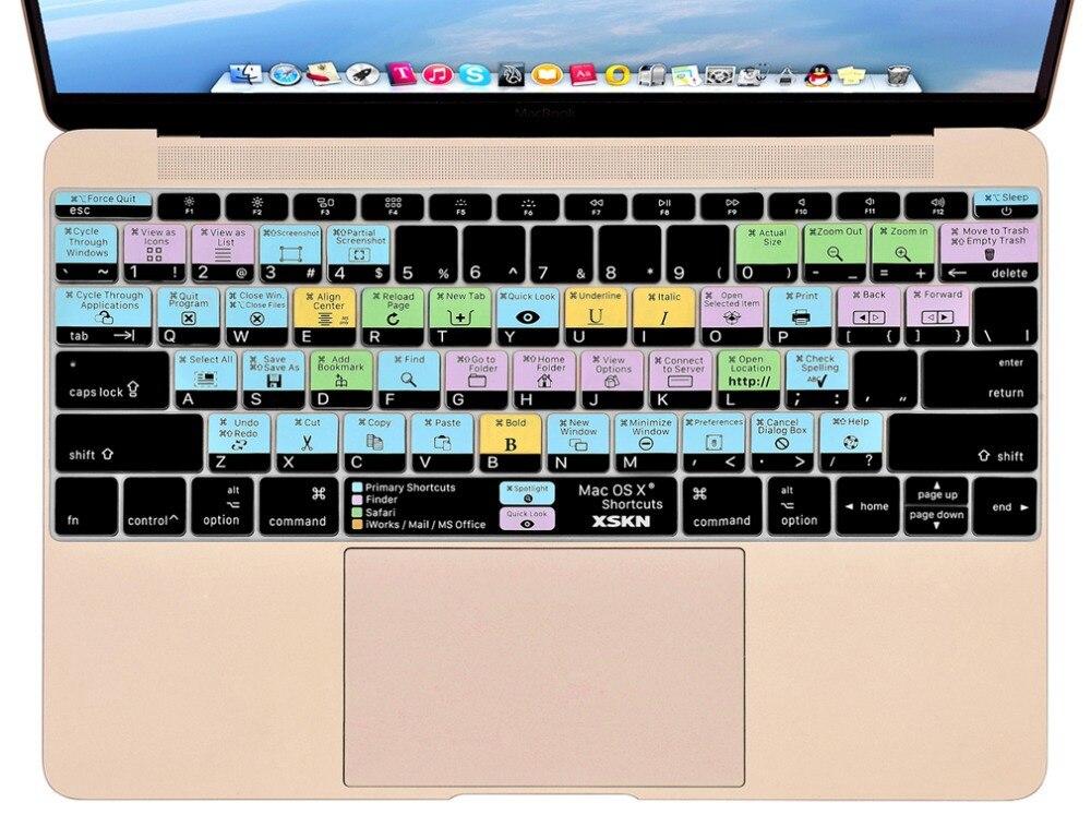 XSKN pour Mac OS X Raccourci Conception Chaude Touches Fonctionnelle Silicone Keyboard Cover Skin pour Macbook 12 Pouce Retina US/EU mise en page