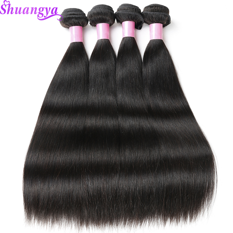 Shuangya Remy Hair 4 Bundles Deals Brazilian Straight Hair 100 Human Hair Weave Bundles 8 28Inch