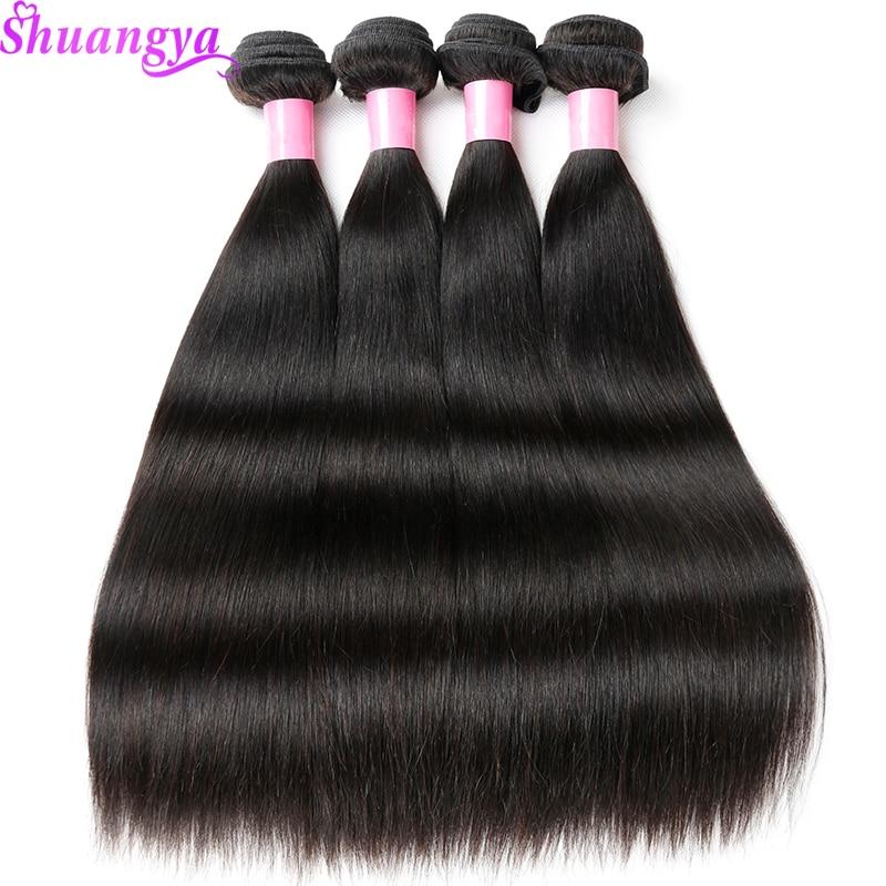 Shuangya Remy Hair 4 Bundles ajánlatok brazil egyenes haj 100% - Emberi haj (fekete)