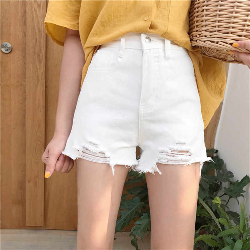 Высокая талия Для женщин Джинсовые шорты 2019 летние новые модные свободные женский отверстие Джинсовые шорты Тонкий дикие дамы короткие штаны WIN803