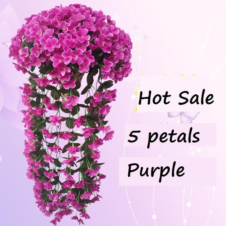 5 꽃잎 보라색 인공 꽃 장식 시뮬레이션 벽 매달려 바구니 꽃 난초 실크 꽃 포도 나무 도매