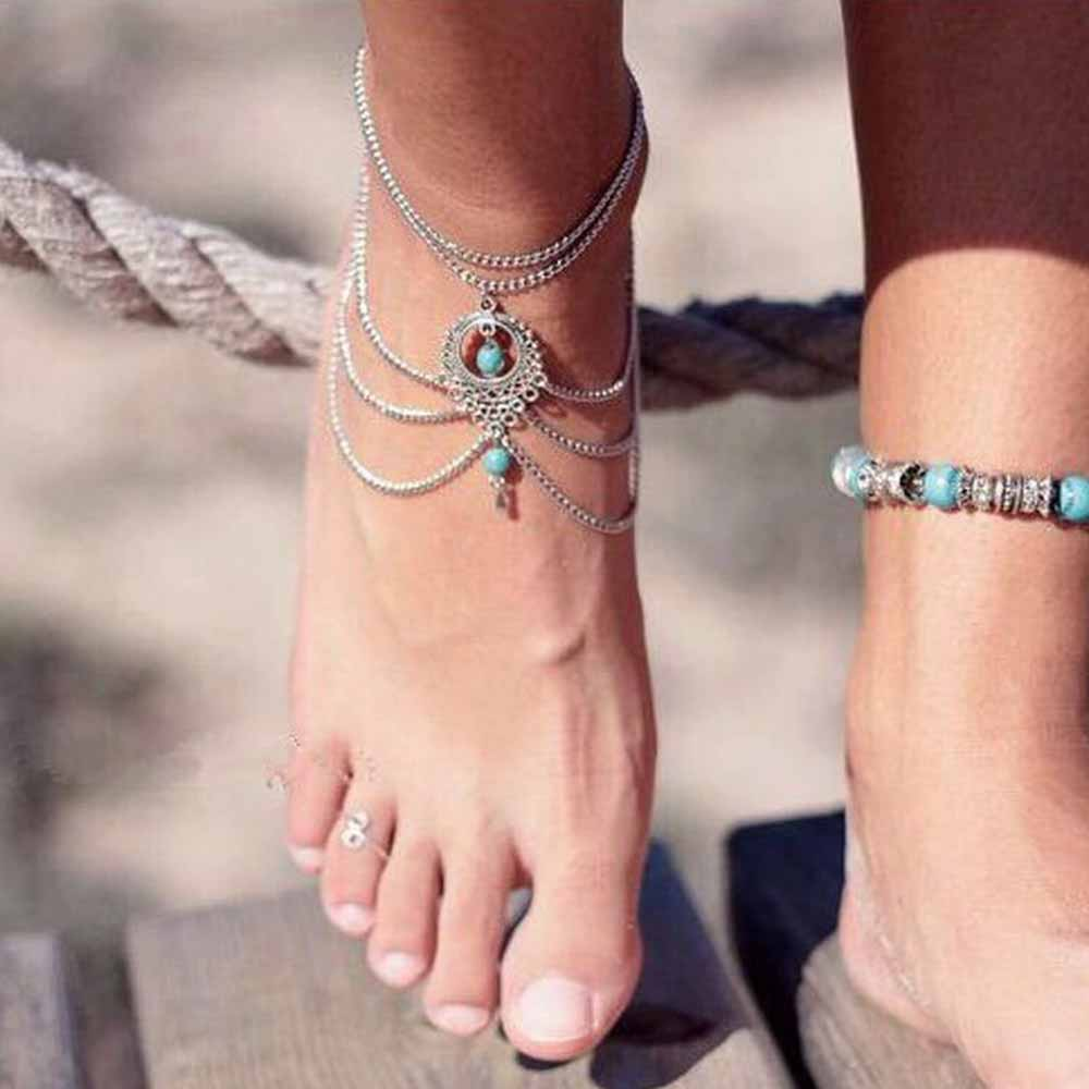 KISSWIFE 2020Vintage Antique Silver Color Anklet Women Blue Stone Beads Bohemian Ankle Anklets