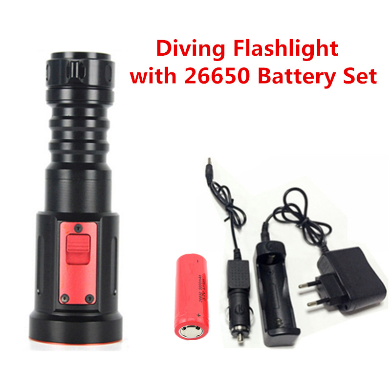 CREE XM-L2 LED Diving Flashlight 2000 Lumens Underwater 100m Depth Bright Torch Light+26650 Battery&Charger+Car Charger cree xm l t6 bicycle light 6000lumens bike light 7modes torch zoomable led flashlight 18650 battery charger bicycle clip