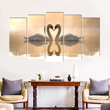 Swan animal canvas painting home deco art prints 5 psc realist country wall pictures for parlor bedroom lobby hotel restaurant realist interviewing