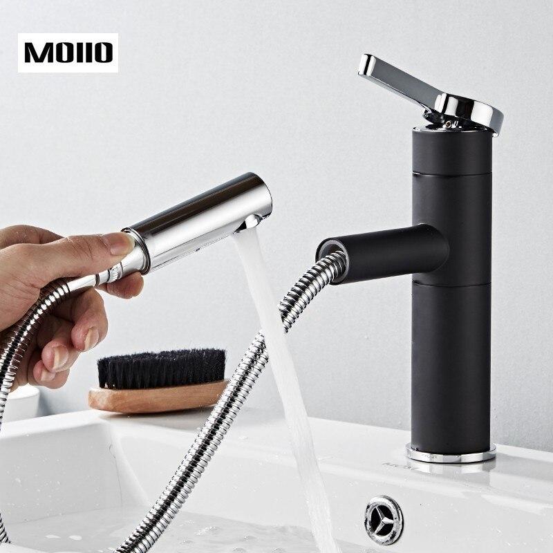 Robinets de lavabo coulissants Elegan noir en laiton salle de bain bassin robinet pont monté éviers mitigeur 360 Rotation Grohe robinets chauds et froids