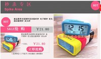 1 Piece Candy Color Large Big LED Screen Calendar Digital Alarm Clock With Snooze Function Thermometer