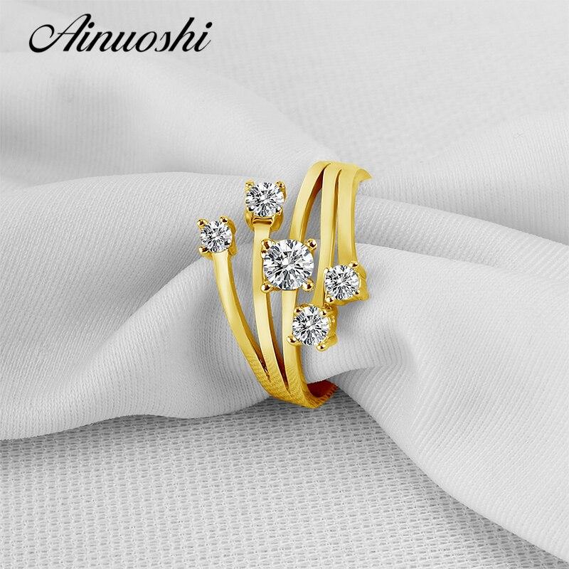 AINUOSHI 14 K solide or jaune étoile fleur anneau conception spéciale SONA simulé diamant mariage fiançailles grappe anneau femmes cadeau - 5