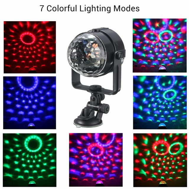Mini RGB LED Stage Light 3 W Afstandsbedieningen Licht Discobal ...