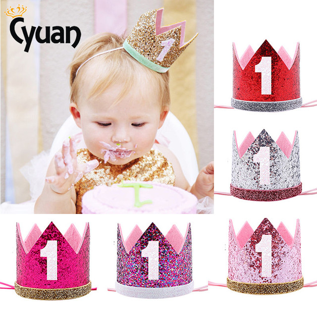 1pcs Boy Blue Silver First Birthday Hat Girl Gold Pink Priness Crown