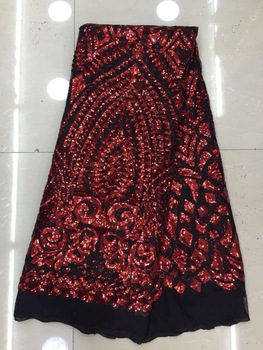 2017 Best High Quality African Sequin Lace / Fashion Black Sequins Lace Fabric, Embroidered Sequins Mesh Lace Fabric for Dress