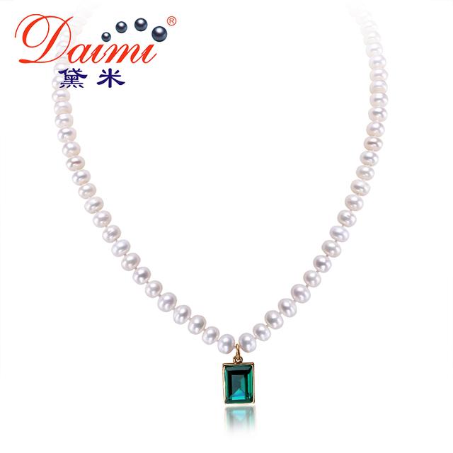 DAIMI Natural Artesanal Colar De Pérolas AA 6-7mm Cultivadas Pearl & Shinny Cristal Gota Colar de Pingente de Colar