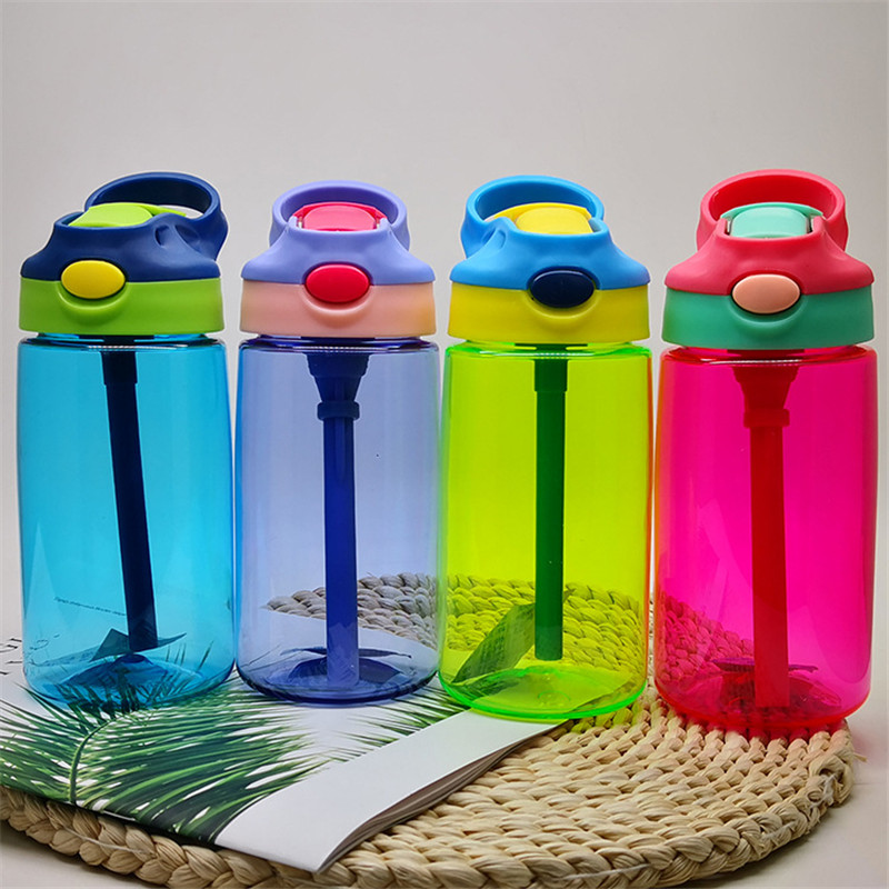 10 pcs 500ml Kids Water Bottle With Straw Plastic Water Bottles For Kids Bottles BPA Free